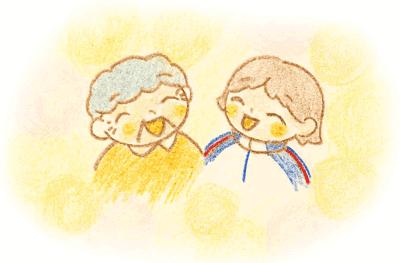 笑顔の2人のイラスト