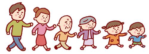 福祉センターへ向かう家族のイメージ